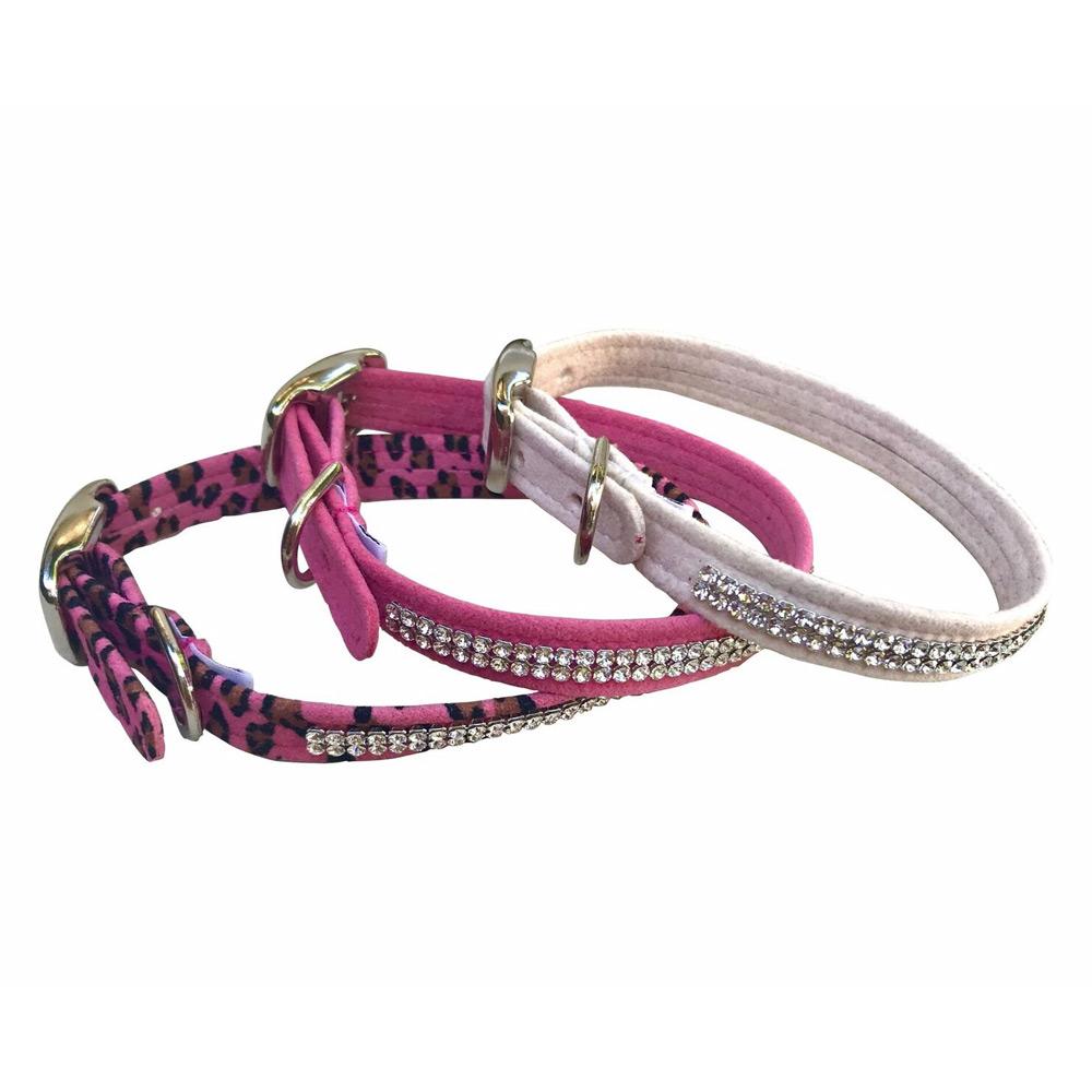 The Dog Squad Glamour Girl Dog Collar with 2 Row Swarovski, Pink, Medium, Medium