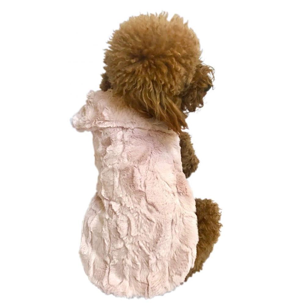 The Dog Squad Bella Luxury Fur Dog Coat, Blush, Small