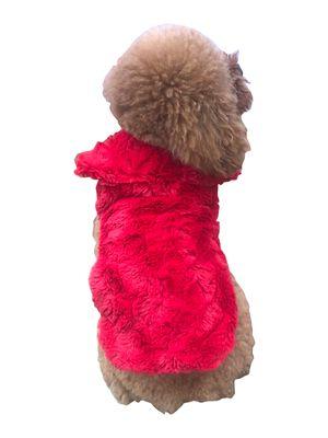 The Dog Squad Bella Luxury Fur Dog Coat, Red, Small