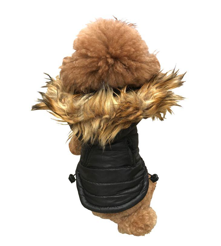 The Dog Squad Ski Bunny Puffer Dog Coat, Black, X-Small