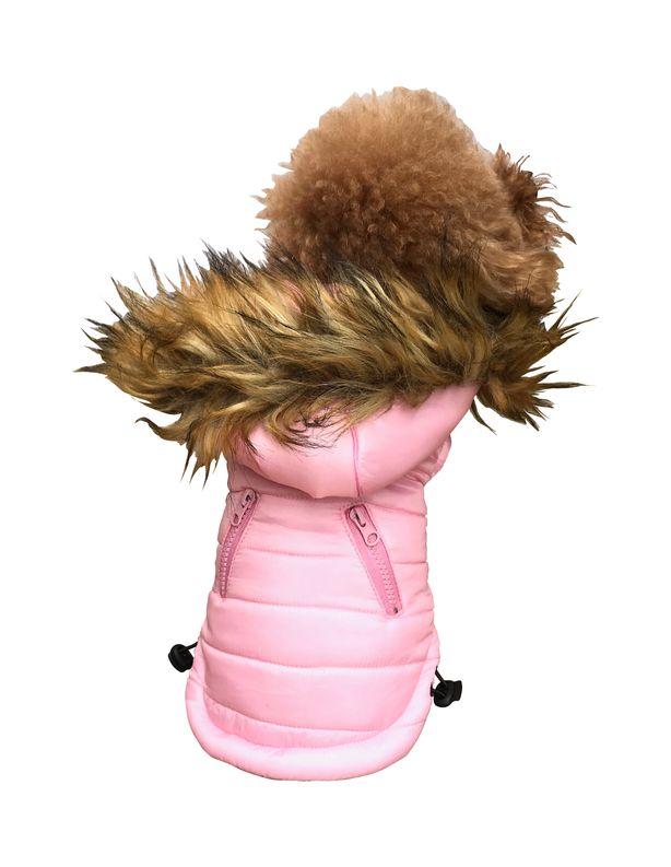The Dog Squad Ski Bunny Puffer Dog Coat, Pink, X-Small