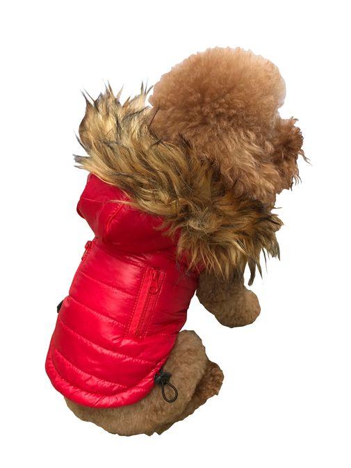 The Dog Squad Ski Bunny Puffer Dog Coat, Red, X-Small