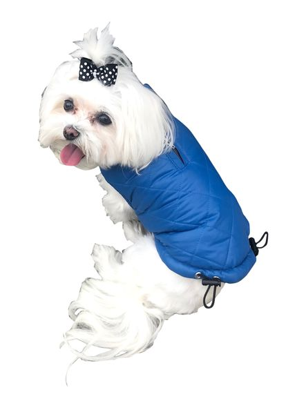 The Dog Squad Coco Diamond Puffer Dog Coat, Blue, X-Small