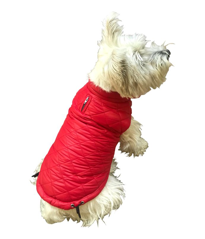 The Dog Squad Coco Diamond Puffer Dog Coat, Red, X-Small