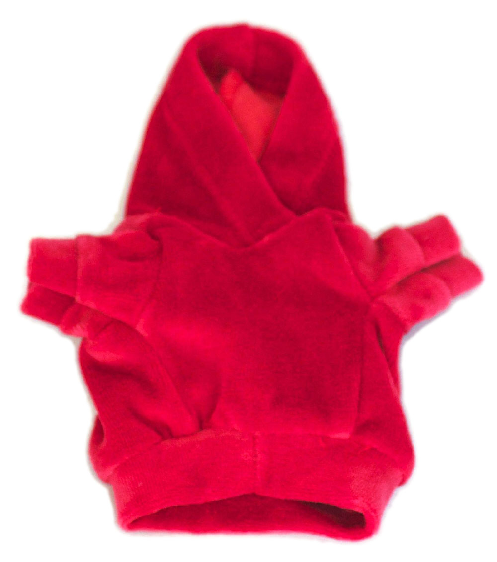 The Dog Squad Velour Hoodie Pullover, Red, Small