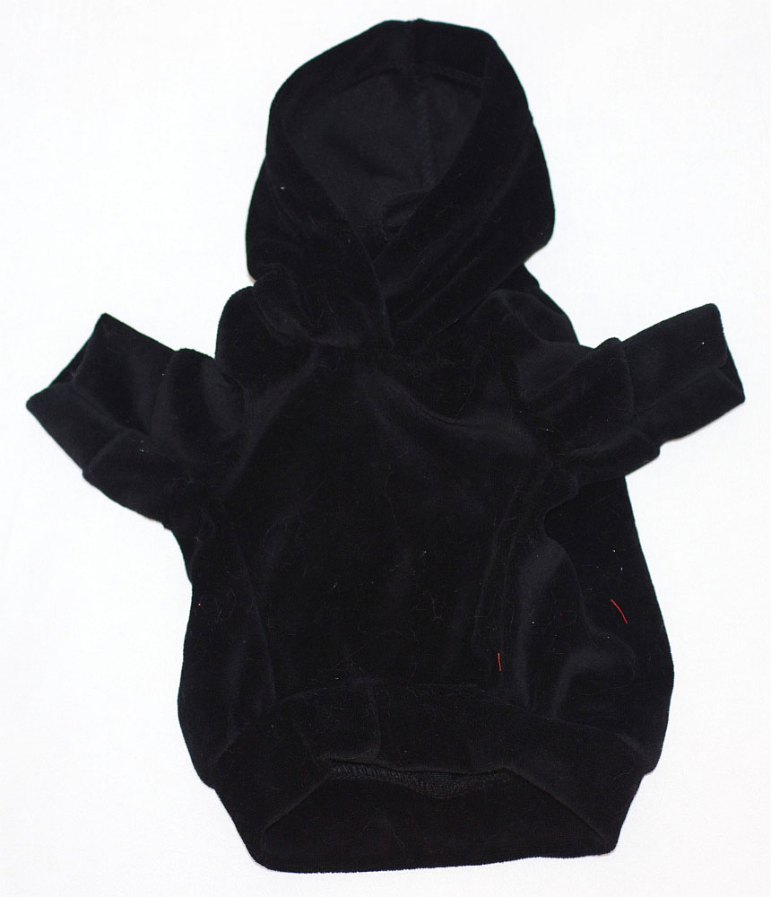 The Dog Squad Velour Hoodie Pullover, Black, Small