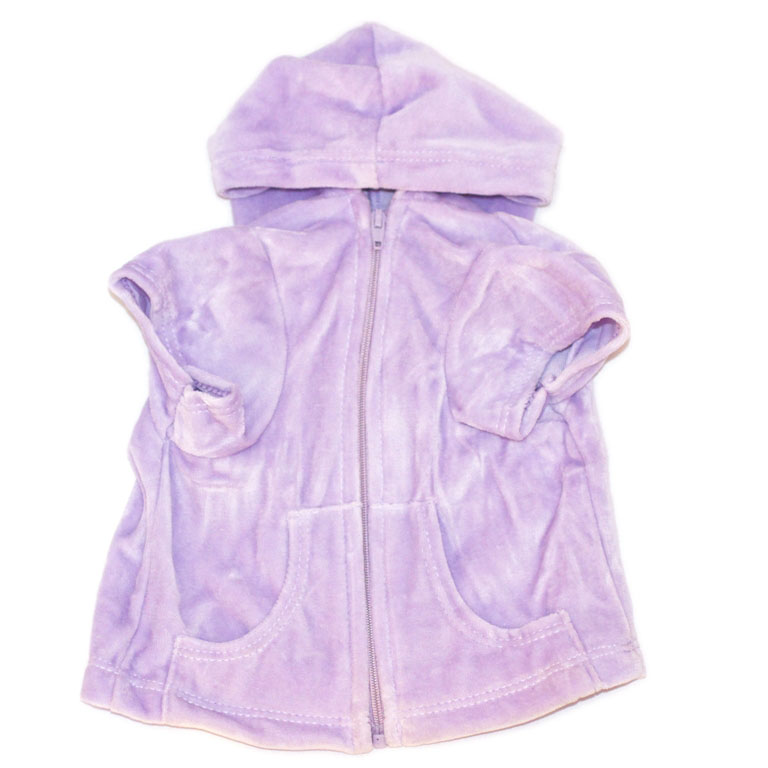 The Dog Squad Velour Hoodie Front Zip, Lilac, Small