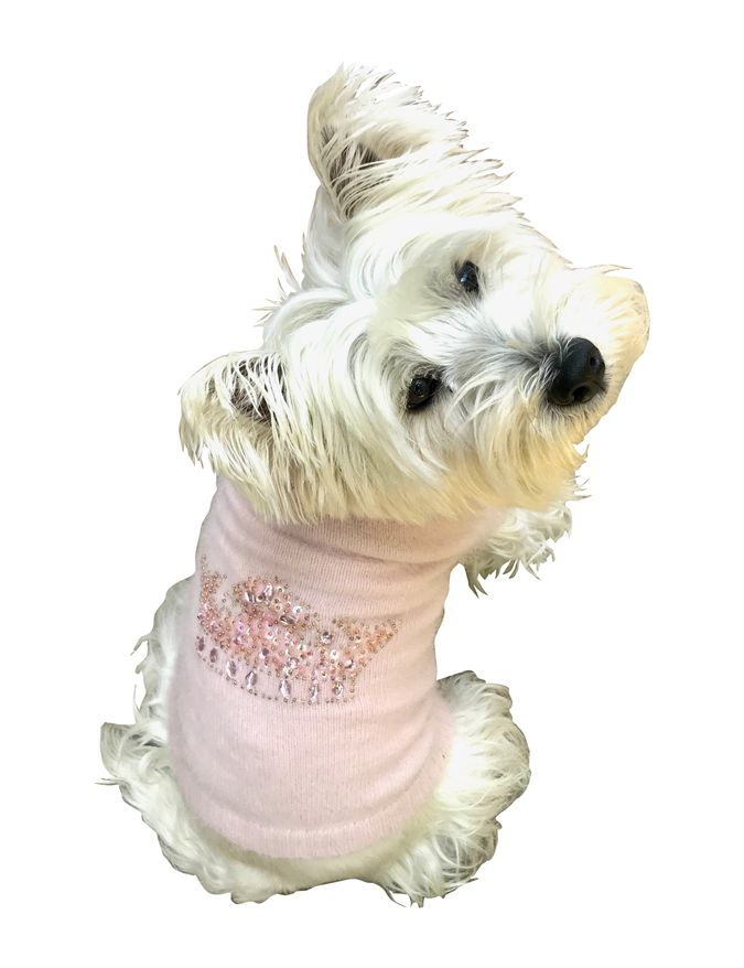 The Dog Squad Turtleneck Sweater, Light Pink With Tiara Crown Rhinestone , Small