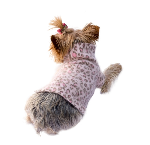 The Dog Squad Sweater, Light Pink Leopard, Small
