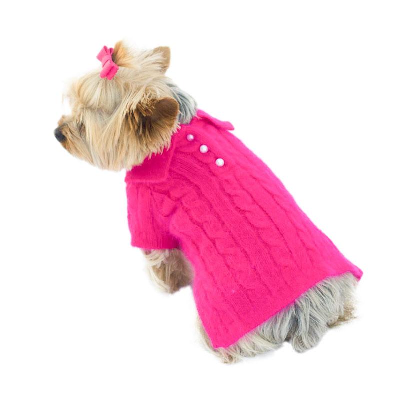 The Dog Squad Preppy Polo Sweater, Fuchsia, Small