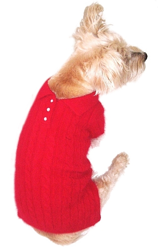 The Dog Squad Preppy Polo Sweater, Red, X-Small