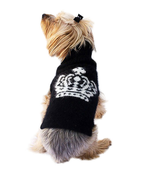 The Dog Squad Turtleneck Sweater, Black And White Diana Crown, Small