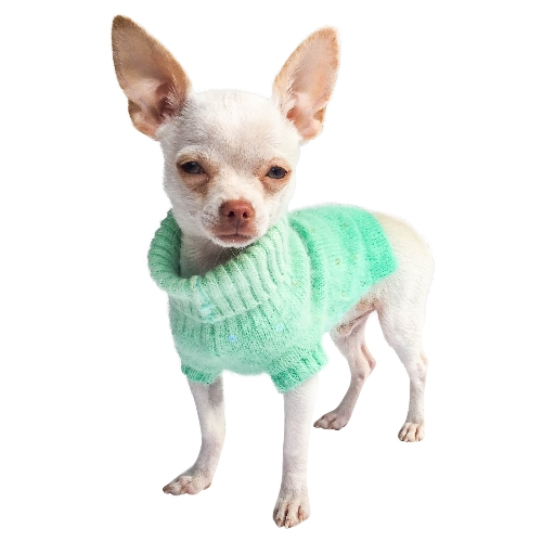 The Dog Squad Sparkle Turtleneck Sweater, Seafoam Dip Dye, X-Small