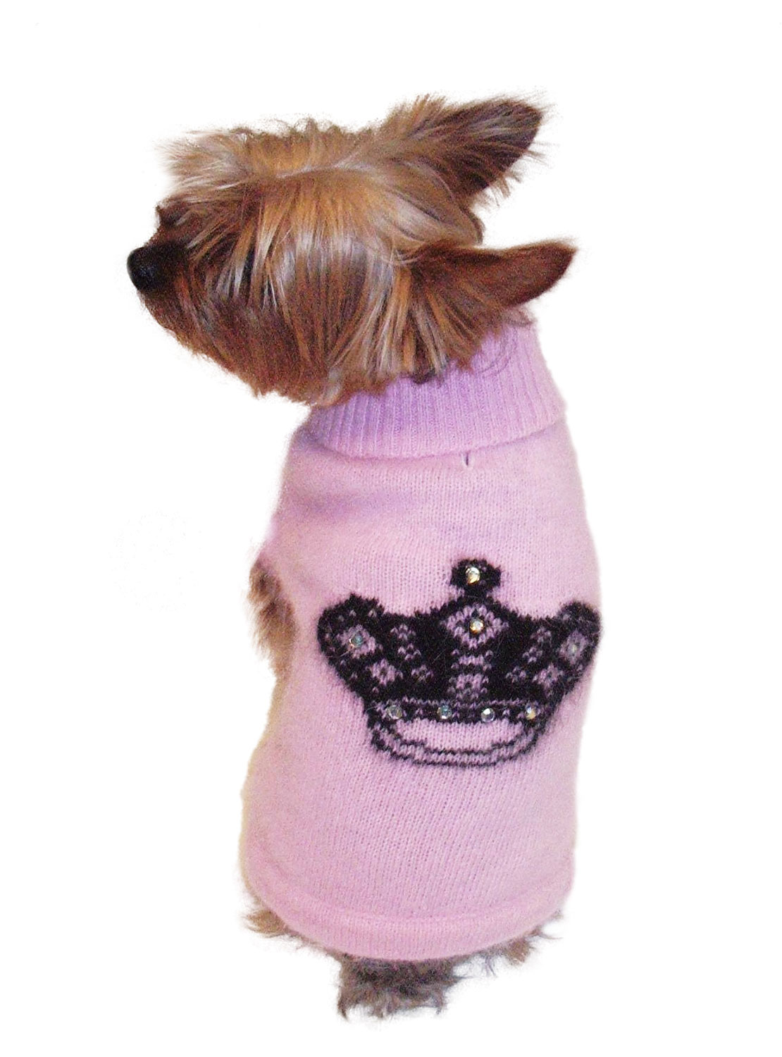 The Dog Squad Turtleneck Sweater, Pink With Black Crown, X-Small