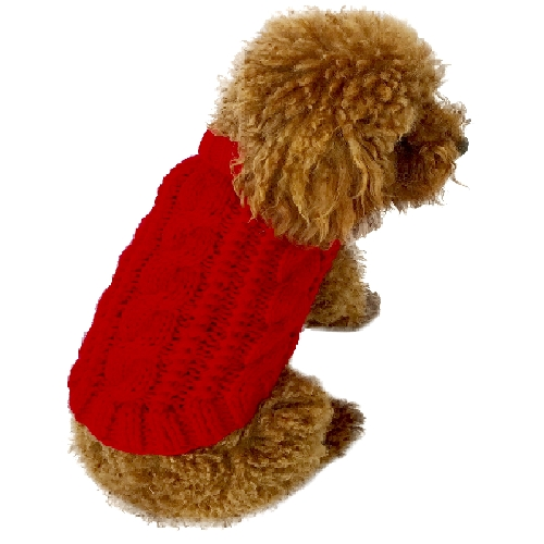 The Dog Squad Irish Isle Cable Knit Sweater, Red, X-Small