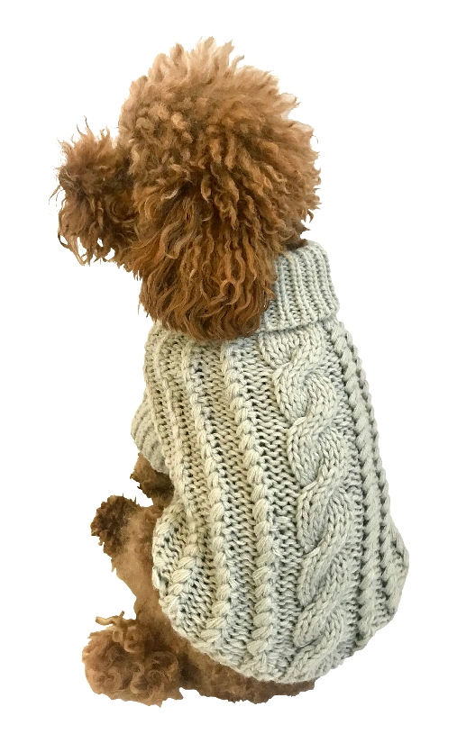 The Dog Squad Irish Isle Cable Knit Sweater, Gray, XX-Small