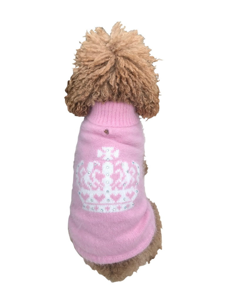 The Dog Squad Turtleneck Sweater, Pink And Ivory Diana Crown, Small