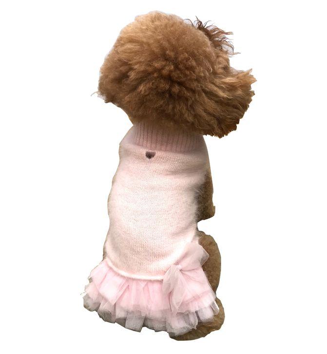 The Dog Squad Frilly Tutu Sweater Dress, Blush, X-Small