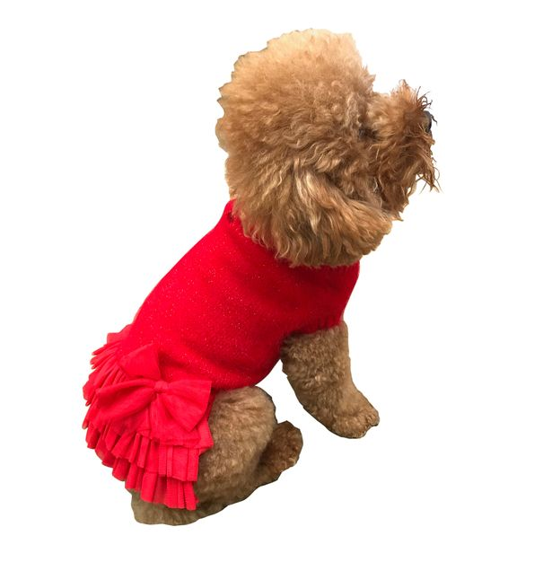 The Dog Squad Frilly Tutu Sweater Dress, Red, Small