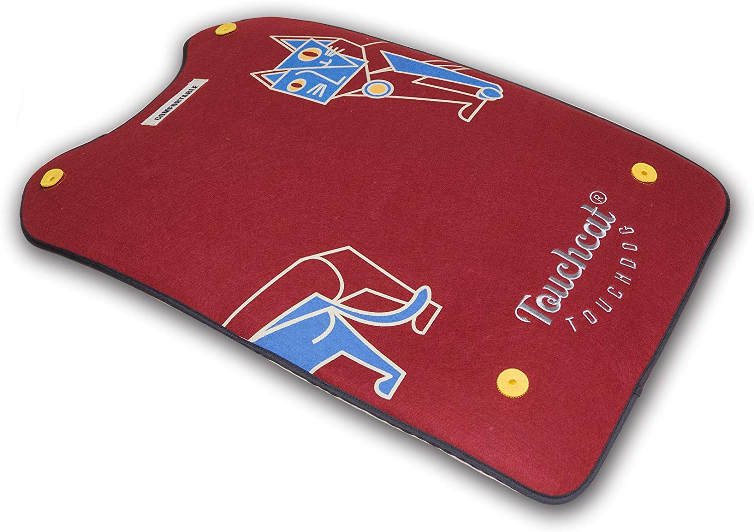 Touchcat Lamaste Travel Reversible Designer Embroidered Dog & Cat Mat, Red, Small