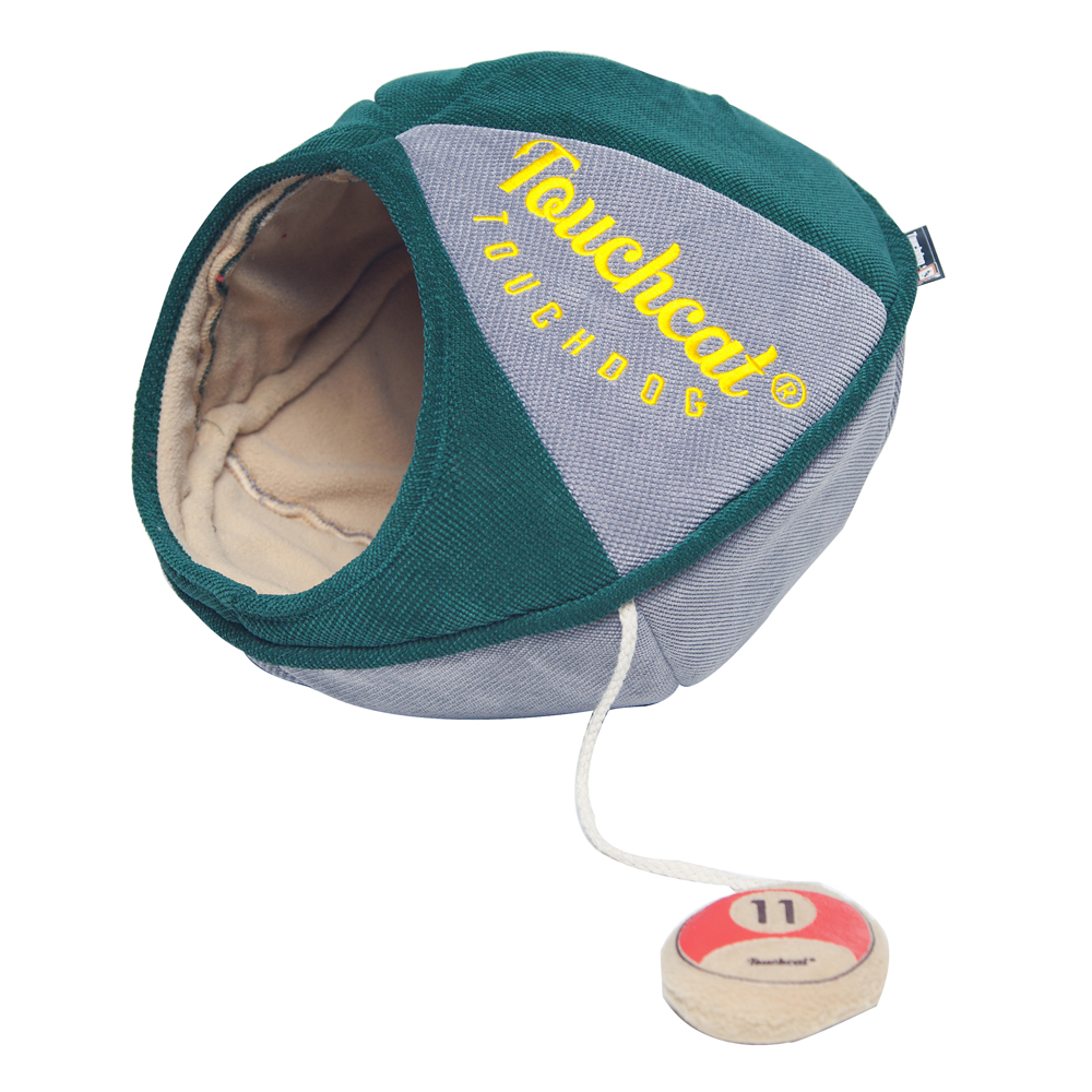 Touchcat Saucer with Toy Collapsible Oval Cat Bed, Green