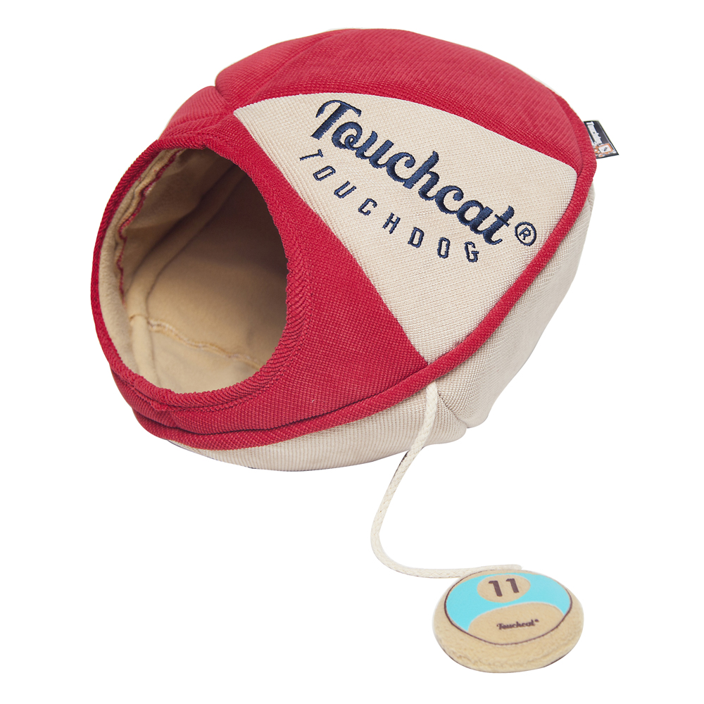 Touchcat Saucer with Toy Collapsible Oval Cat Bed, Red