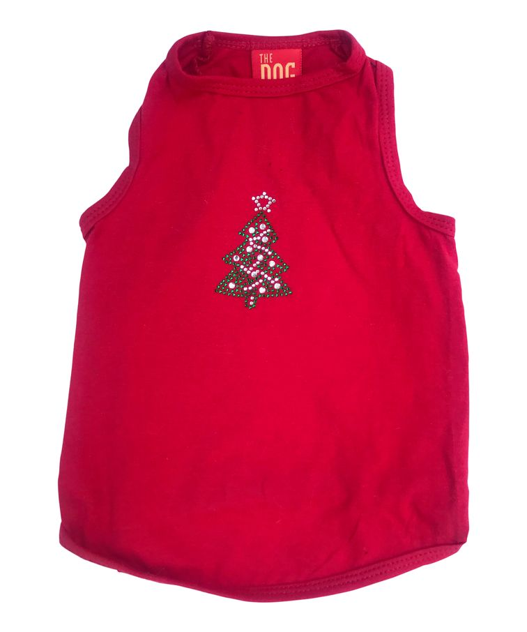 The Dog Squad Tank Top, Christmas Green Tree On Red, X-Large