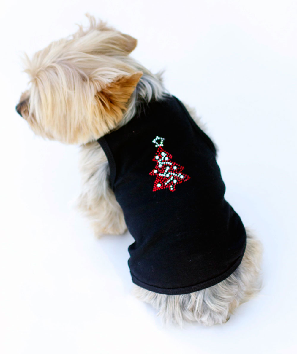 The Dog Squad Tank Top, Christmas Red Tree On Black, X-Small