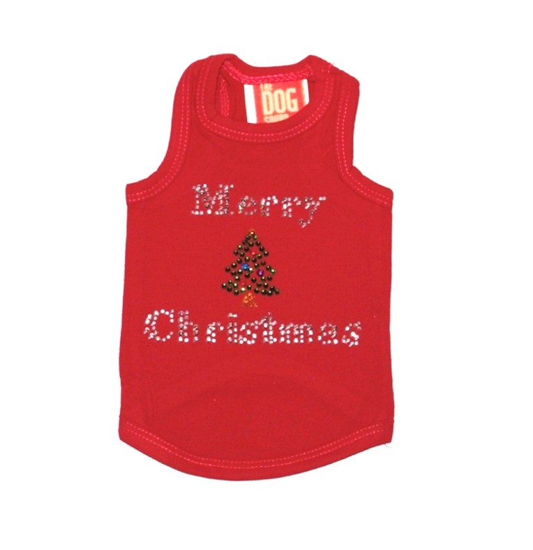 The Dog Squad Tank Top, Christmas Merry Christmas Tree Red Tank, X-Large