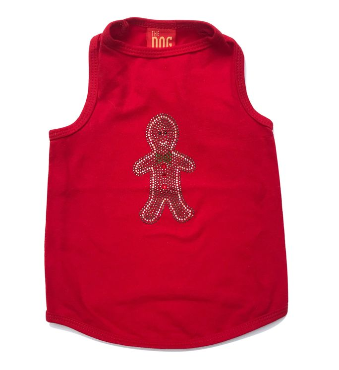 The Dog Squad Tank Top, Christmas Gingerbread Red, Large