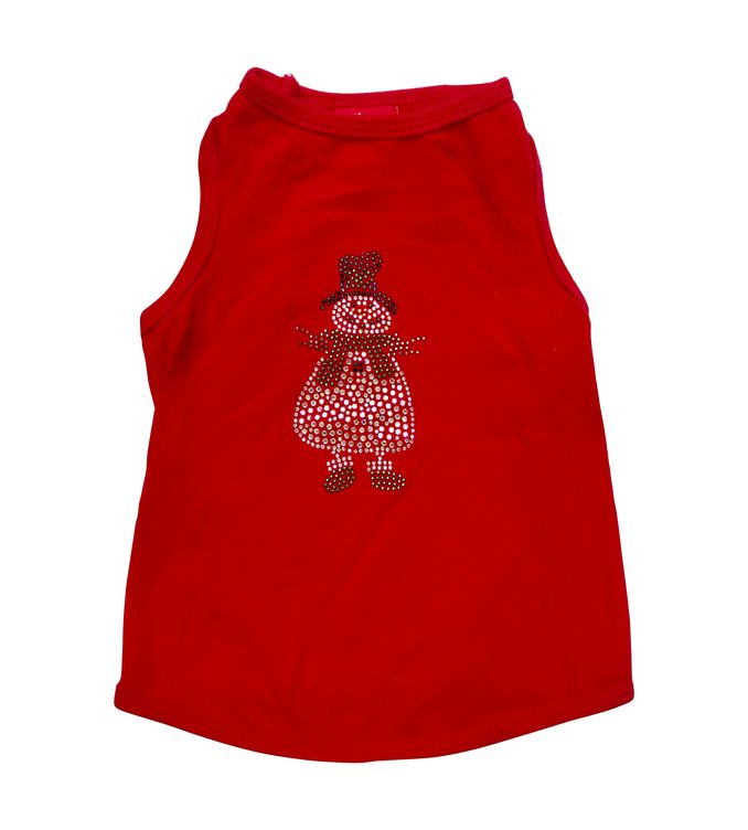 The Dog Squad Tank Top, Christmas Snowman Red, Large