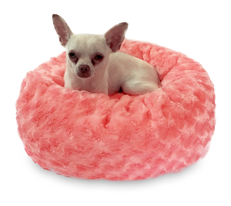 The Dog Squad Crispy Creme Donut Bed, Coral Rosebud, Tiny