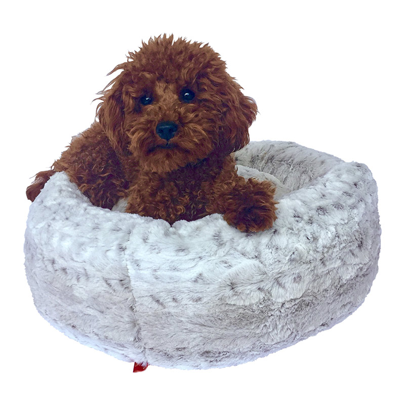 The Dog Squad Crispy Creme Donut Bed, Frosted Snow Leopard, Small