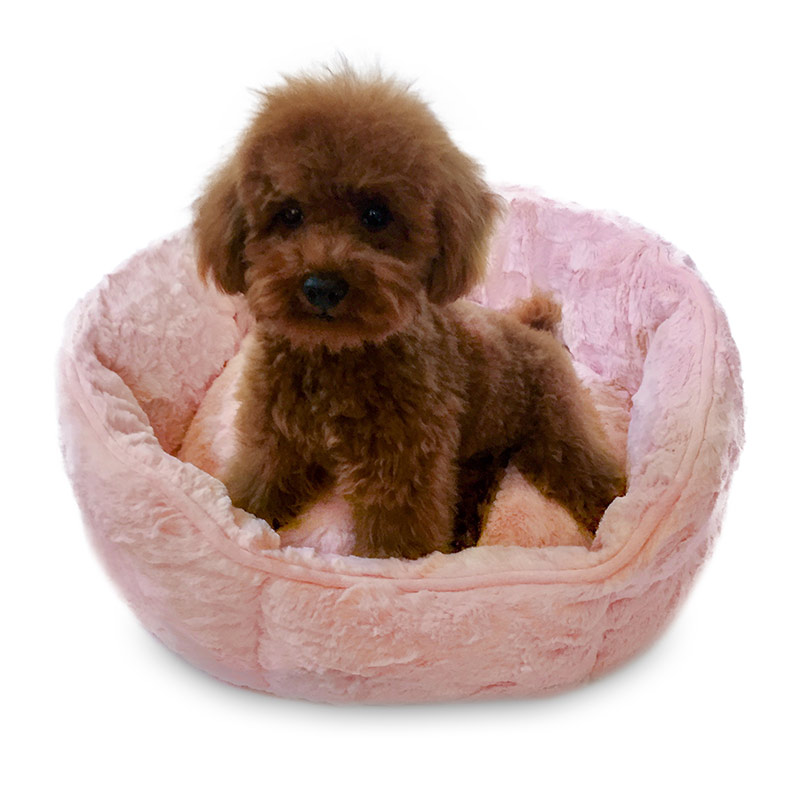 The Dog Squad Faux Fur Shell Bed, Bella Pink, Small