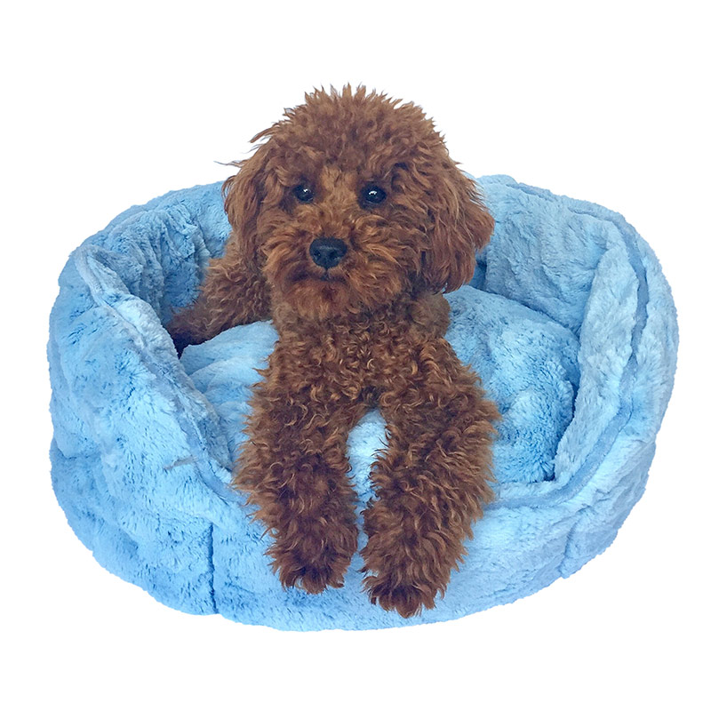 The Dog Squad Faux Fur Shell Bed, Light Blue, Tiny
