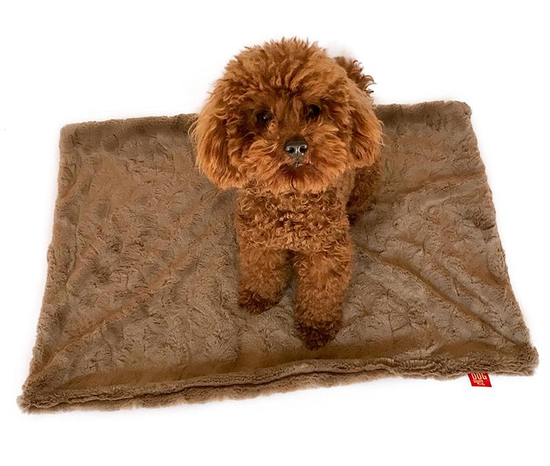 The Dog Squad Minkie Binkie Blanket, Bella Mocha, Square
