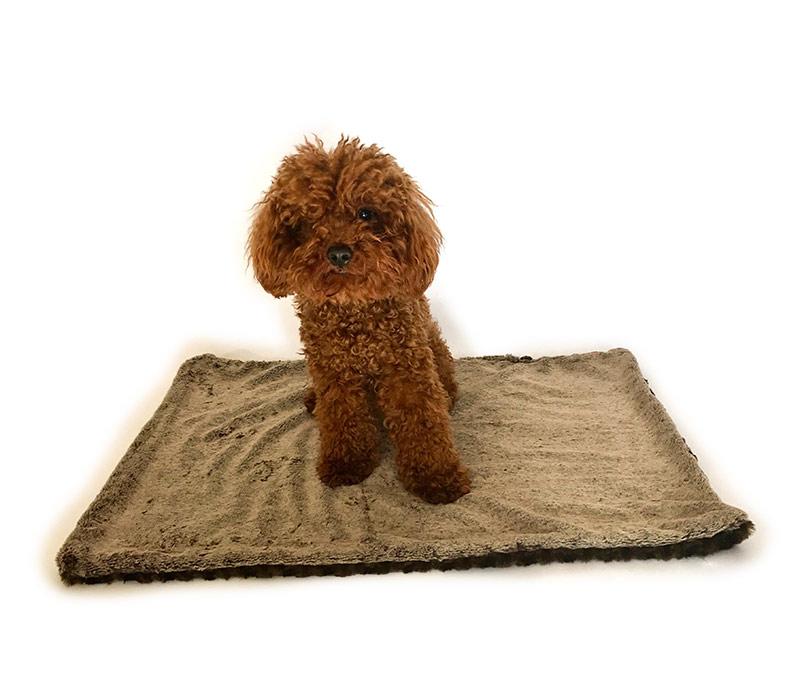 The Dog Squad Faux Fur Minkie Binkie Blanket, Brown Seal, Small