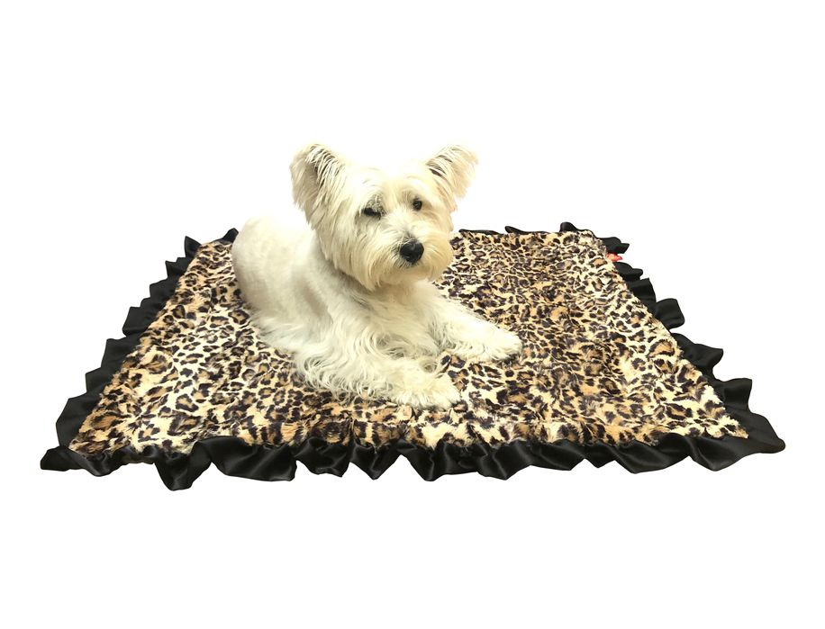 The Dog Squad Furbaby Ruffled Blanket, Leopard, Travel