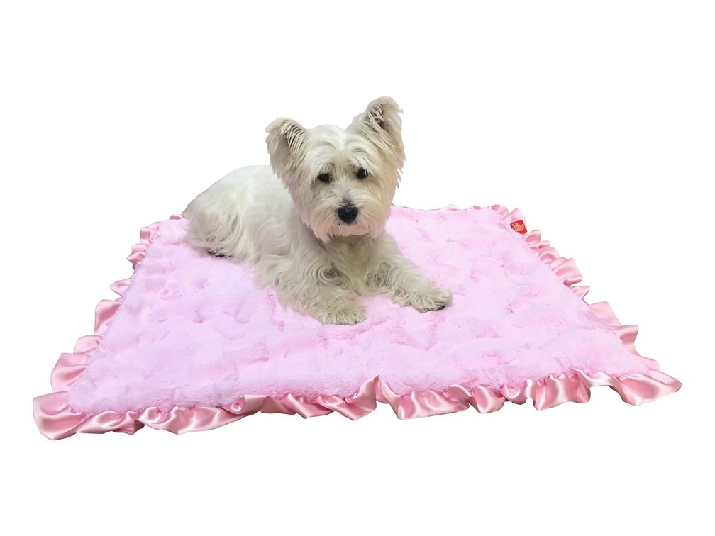 The Dog Squad Ruffled Blanket, Bella Pink, Travel