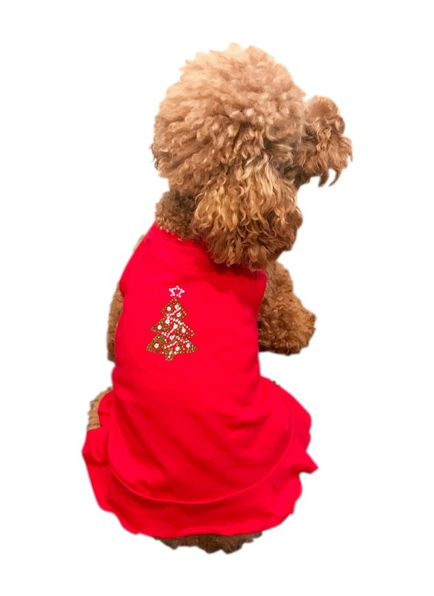 The Dog Squad Dress, Christmas Green Tree on Red, X-Small