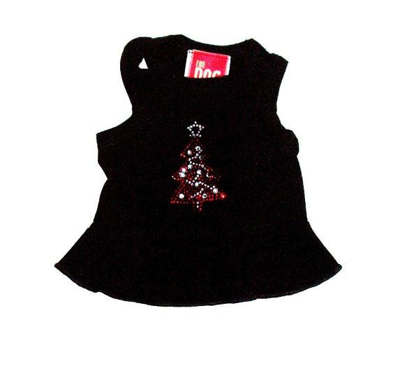 The Dog Squad Tank Dress, Christmas Red Tree on Black, X-Small