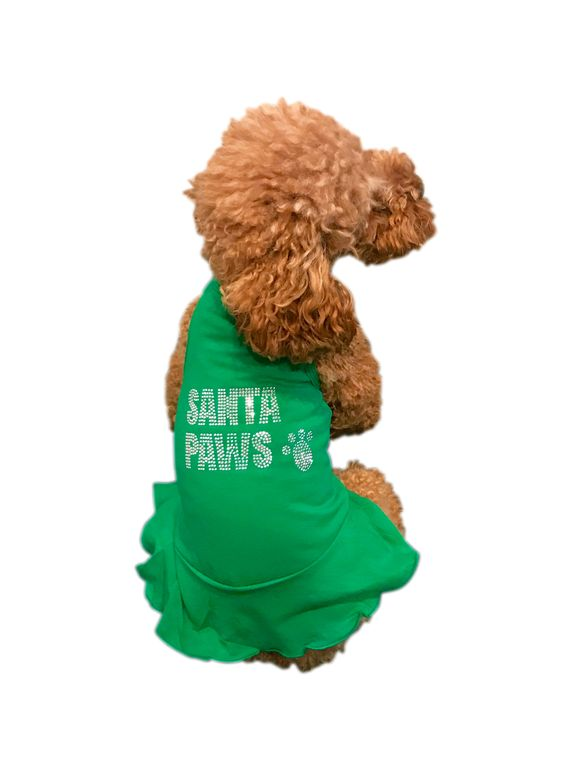 The Dog Squad Tank Dress, Christmas Big Santa Paws Green, Small