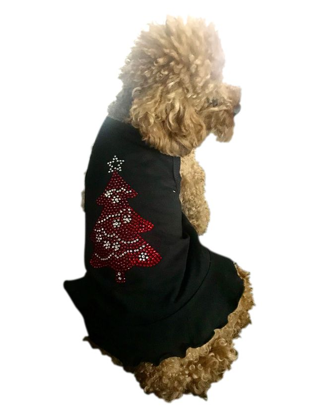 The Dog Squad Tank Dress, Christmas Huge Red Tree Black, Small