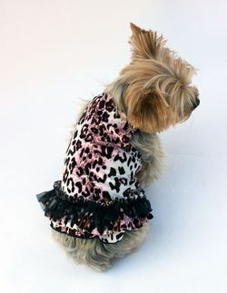 The Dog Squad Tutu Dress, Pink Leopard Movie Star Velvet, X-Small