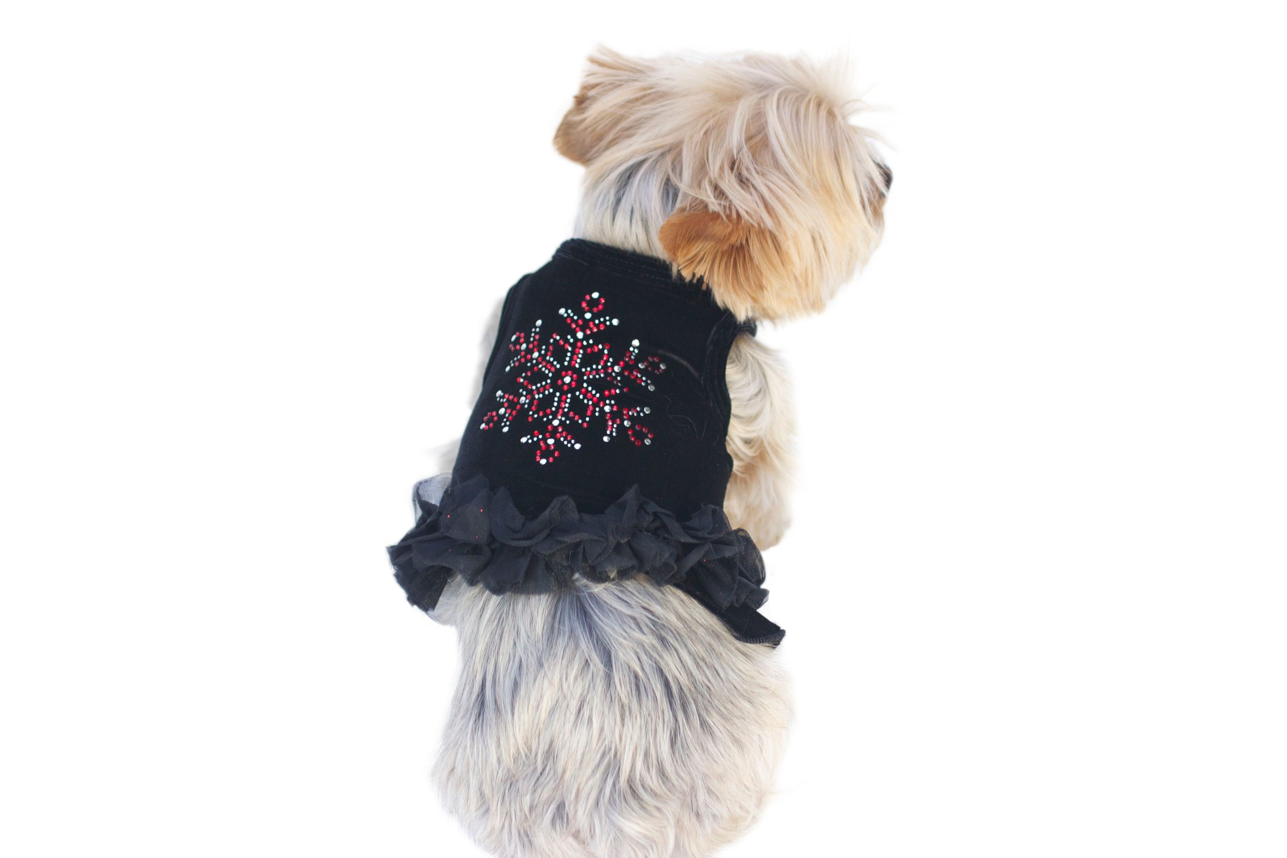 The Dog Squad Tutu Dress, Black Velvet Snowflake, X-Small