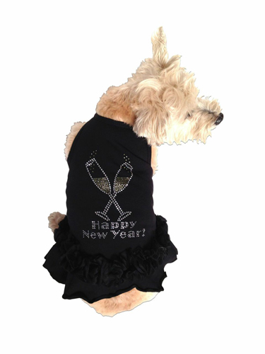 The Dog Squad Tutu Dress, Toast the New Year, Large