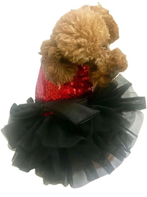 The Dog Squad Fufu Tutu Dog Dress, Vixen Red, Small