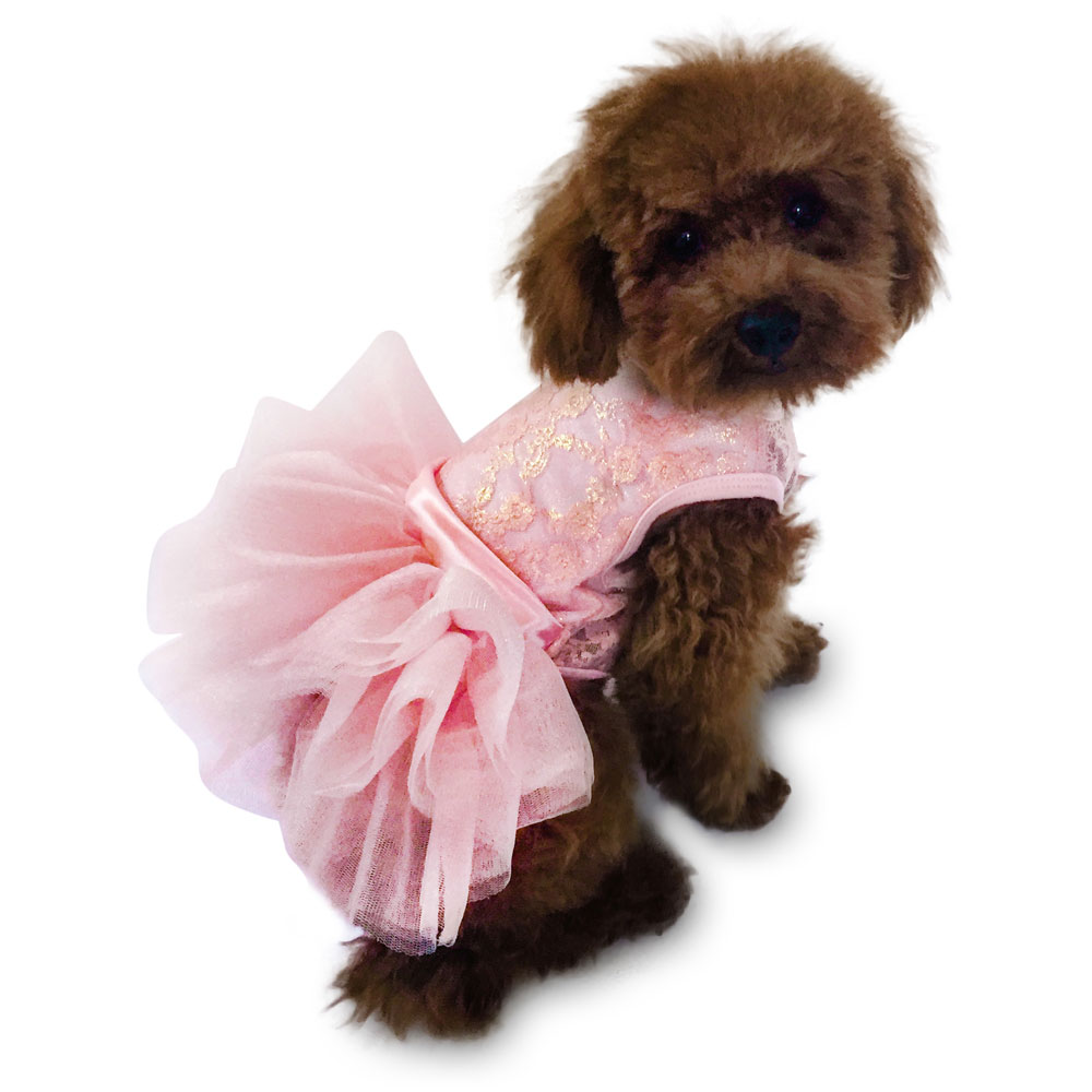The Dog Squad Fufu Tutu Dog Dress, Rose Gold Iridescent Lace, X-Small