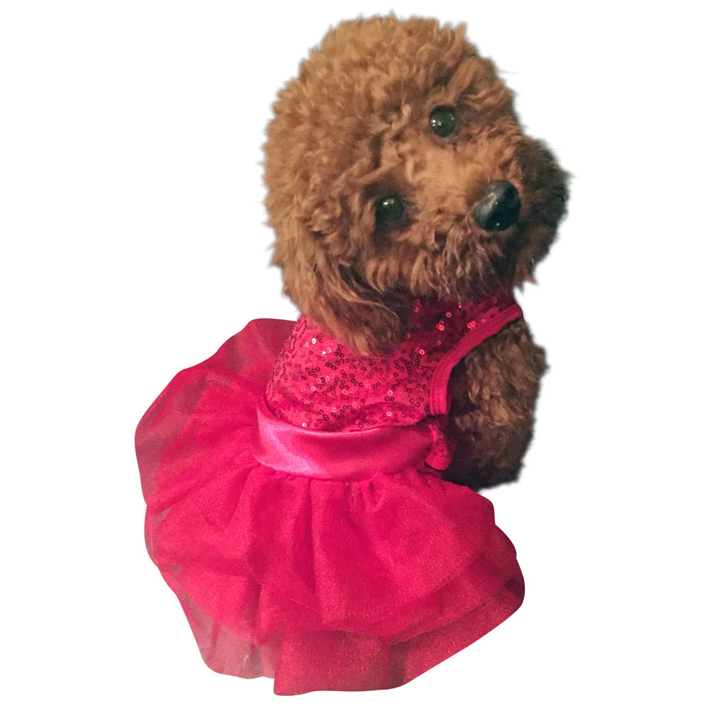 The Dog Squad Fufu Tutu Dog Dress, Picture Perfect Red Sequins, X-Small