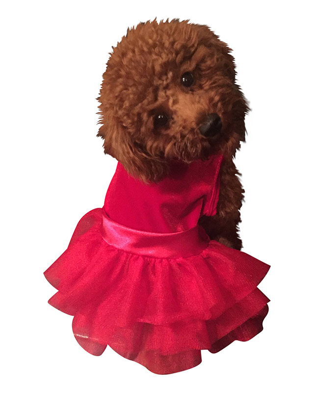 The Dog Squad Fufu Tutu Dog Dress, Holiday Party Girl Red Velvet, Small